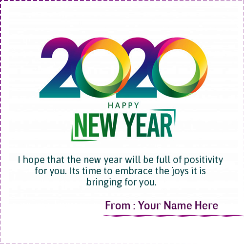 Happy New Year Greeting Card 2020 With Name Edit