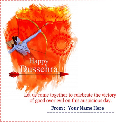 Write Name on Happy Dussehra Cards