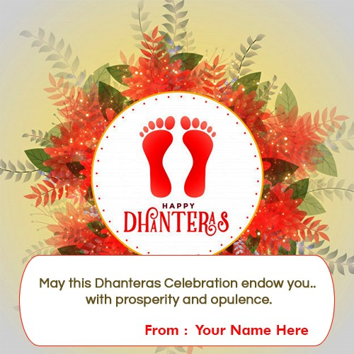 Happy Dhanteras Laxmi Charan Paduka Greeting Card With Name