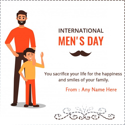 Happy International Mens Day Card With Name Edit