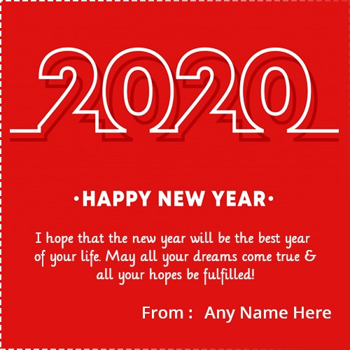 Create Happy New Year 2020 Card With Name Edit