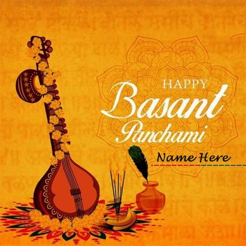 Write Name On Basant Panchami DP Whatsapp Image
