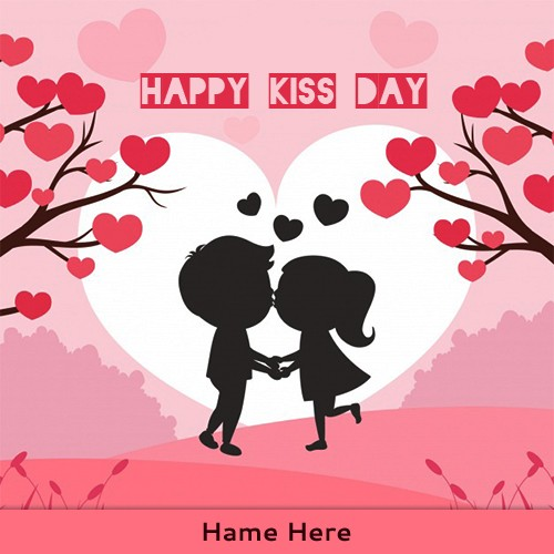 Happy Kiss Day 2020 Cartoon Pic With Love Name