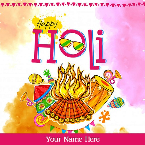 Happy Holi 2020 Festival Card With Name Edit