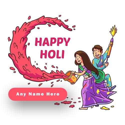 Celebrate Happy Holi with Love Couple Name Editor