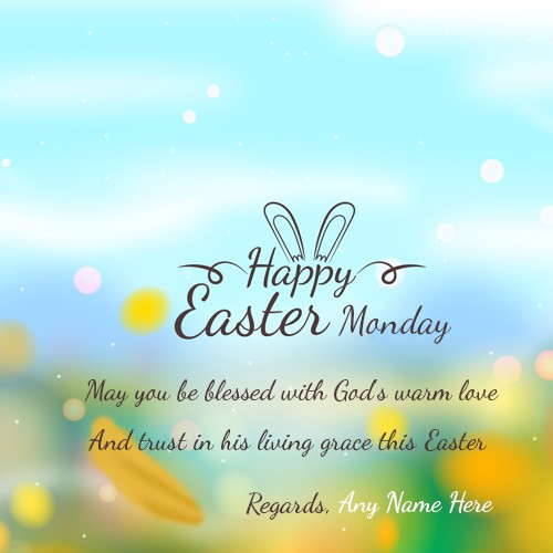 Happy Easter Monday 2020 Greetings Card With Name